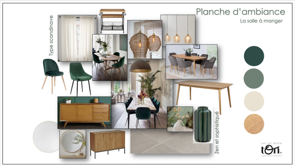 Planche d'ambiance, moodboard, salle à manger, décoration d'intérieur Neuchâtel, sur un autre ton