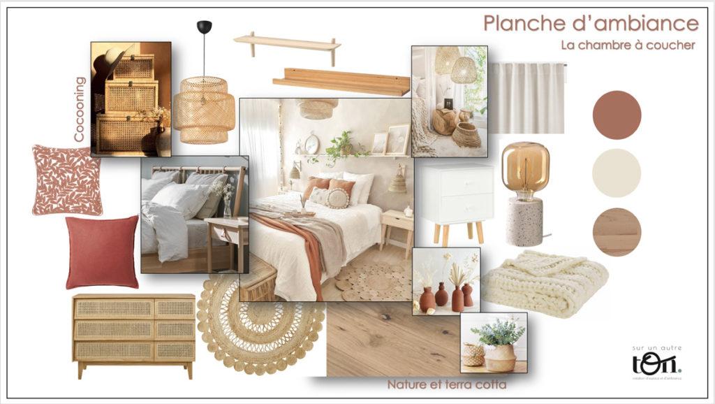 Planche d'ambiance, moodboard, chambre, décoration d'intérieur Neuchâtel, sur un autre ton